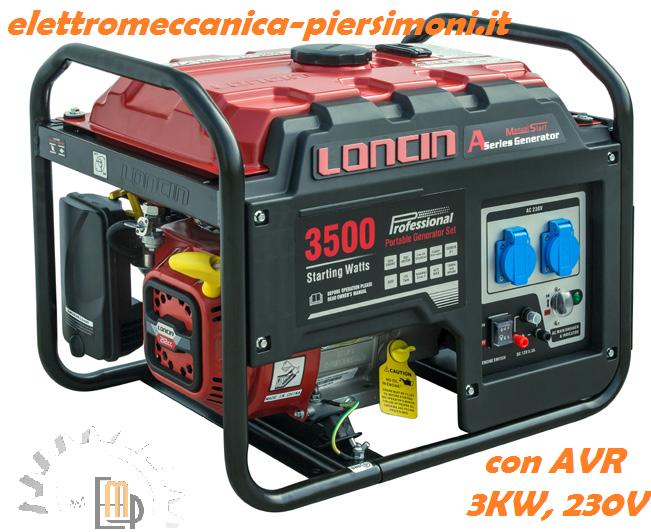 Generatore di corrente loncin lc 3500 a 3kw 230v con avr for Generatore di corrente lidl